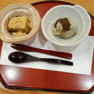 わらび餅とほうじ茶アイス(天ぷら ふく西)