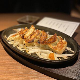 七種盛り餃子(こだわり鉄板餃子、しそ餃子、島唐辛子餃子、海老餃子、野菜餃子、鶏軟骨餃子、チーズ餃子)