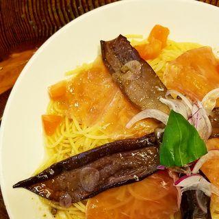 生ハムと茄子のマリネ入り冷製スパゲティ(ラ・タベルナ )