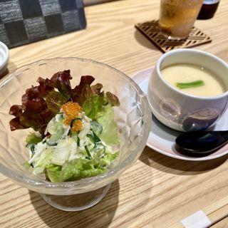 サラダと茶碗蒸し(照鮨)