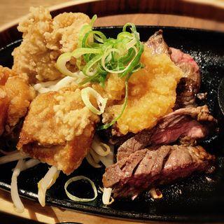 牛ハラミステーキランチ(若鶏の唐揚げ)(肉牧場 コマツバラファーム)