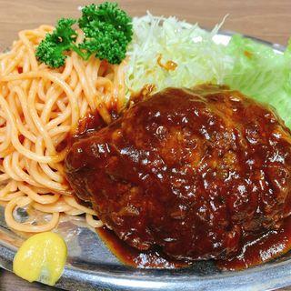 ハンバーグライススパゲティ大盛り(桃乳舎)