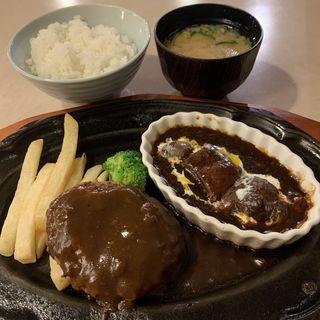 ハンバーグとミニビーフシチューランチ(肉の万世新宿西口店)