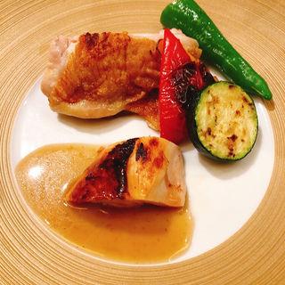大山地鶏のフライパン焼き(銀座大石)