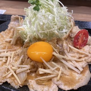 桃豚上ロース&奥久慈卵の黄身添え定食(しょうが焼き Baka)