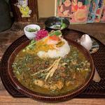 辛子高菜と煮込み鯖カレー