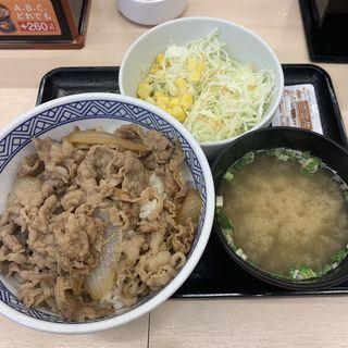 牛丼並盛 サラダみそ汁セット(吉野家 牛皿一丁 西新宿8丁目店 )