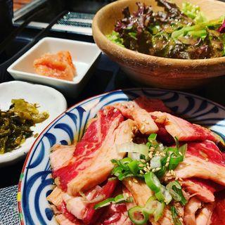 牛カルビ焼肉定食( 焼肉やまや梅田店)