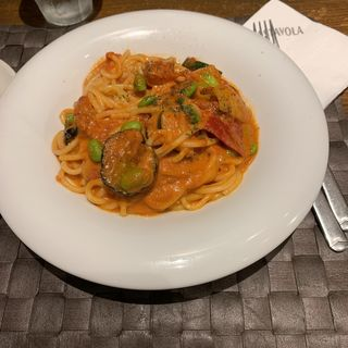 夏野菜のトマトクリームパスタ(パスターヴォラ OOTEMORI店    (PASTAVOLA))