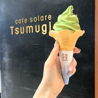 抹茶ソフト(cafe solare Tsumugi カフェソラーレ ツムギ 二俣川店)