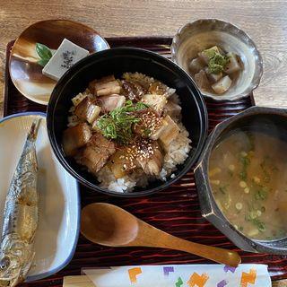 自家製焼き豚丼定食(おばや )
