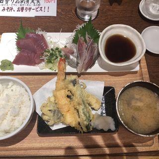 お刺身二種盛と天ぷら定食(魚豊 人形町店)