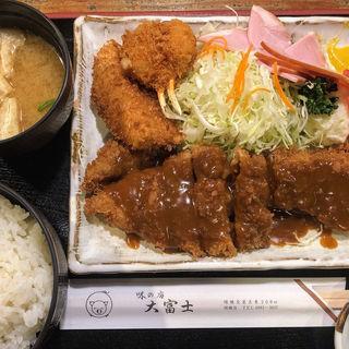 ビフカツ定食(魚フライとカニクリームコロッケトッピング)(大富士 )