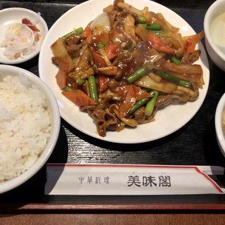 豚もつ辛炒め定食(美味閣  )
