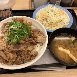 にんにくバターのごろチキコンボ牛めし生野菜セット 大盛(松屋 西新宿8丁目店 (マツヤ))