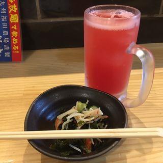 トマトサワー&お通し(鶏居酒屋 ちらんや)