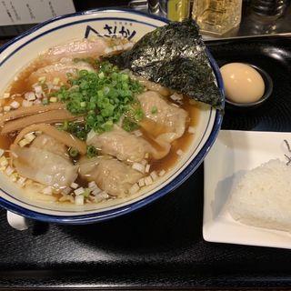 わんたん麺 燻製玉子入り(さんかく )