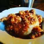 本日の冷製麻婆(へしこ、セセリ、鶏肉、シメジ)豆腐