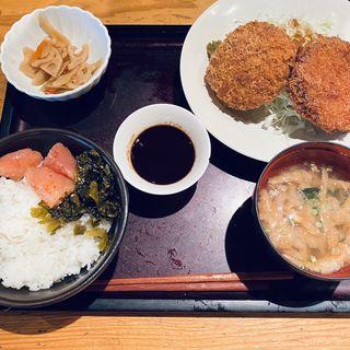 コロッケ&メンチカツ定食(博多もつ鍋 やまや 浜松町店)