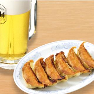 生ビールセット (生ビール中と餃子6個)130円お得!(福しん 水天宮前T-CAT店)