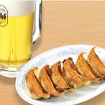 生ビールセット (生ビール中と餃子6個)130円お得!