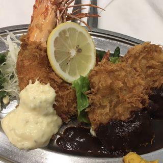 有頭海老とポークカツ(レストラン桂 (カツラ))