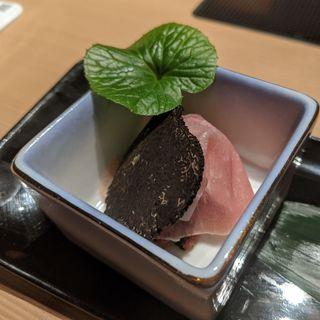 生ハム和牛タルタルトリュフのせ(しゃぶしゃぶ九)