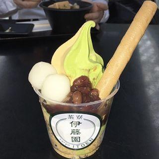 抹茶・ほうじ茶 白玉あずきソフトクリーム(茶寮 伊藤園 (サリョウイトウエン))
