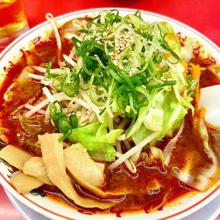 辛みそ野菜らーめん + 唐揚げ定食(魁力屋 五反田店 (カイリキヤ))