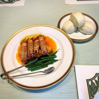 海老のチリソース炒め花巻付き