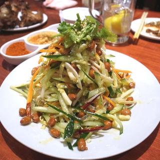 胡瓜、干し豆腐、春雨とピーナッツの中華サラダ(家常凉菜)(小城)