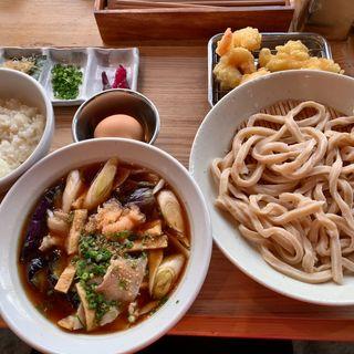 肉茄子汁うどん+宝玉たまごの卵かけご飯+小海老天盛り(武蔵野うどん 澤村)