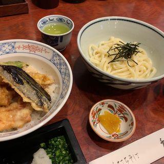 地どりと夏野菜の天丼とうどんセット(御徒町 和楽庵)
