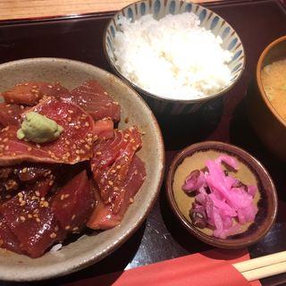 鮪ヅケ丼定食 飯増し(早瀬 (せんさいぎょ はやせ))