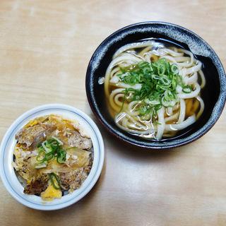 かけうどん+ミニカツ丼(博多さぬきうどん 渡辺通り店)