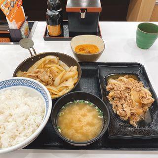 牛皿・豚生姜焼き定食と生玉子