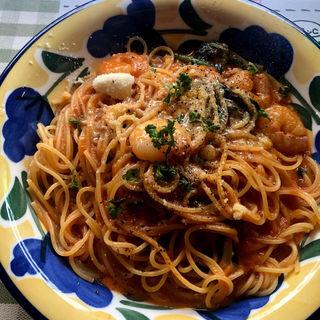 エビと水菜のトマトソース(大衆イタリア食堂アレグロ つかしん店 )