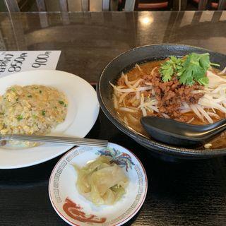 坦々刀削麺+半チャーハンセット