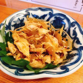 鶏ささみとザーサイの中華炒め(立ち呑みスタンド ヨッコイショ)