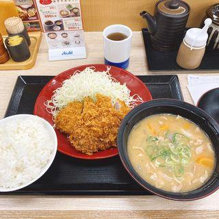 ロースメンチカツ定食・ご飯大盛り・とん汁大(かつや 小金井前原店 )