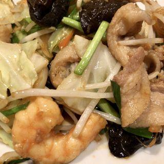 海老野菜炒め定食