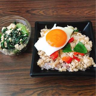ガパオライス、小松菜の豆腐和え(小春日和)