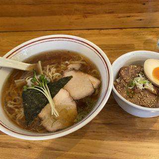 らーめん+チャーシュー丼(白河中華そば 孫市 (まごいち))
