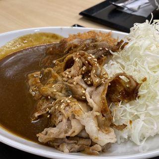 チキンカツのせ牛生姜焼きカレー(かつや 川崎戸手店 )