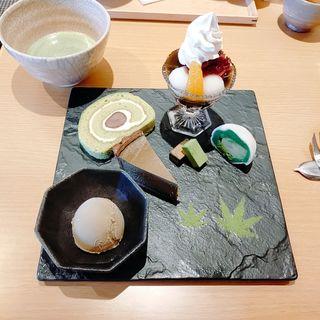 抹茶栗スイーツプレート(お茶セット(伊藤久右衛門祇園四条店・茶房)