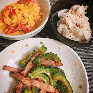 ゴーヤチャンプルー トマトの玉子炒め 大根サラダ