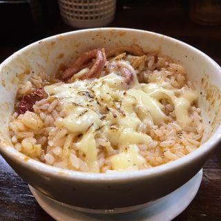 ご飯(ペスカトーレ風トマトつけ麺でリゾット風)(麺座 かたぶつ )