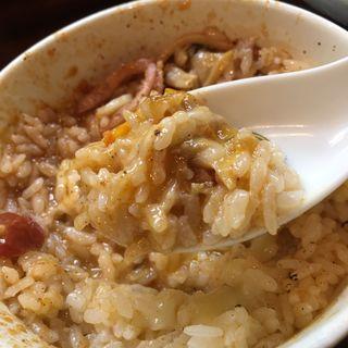 ご飯(ペスカトーレ風トマトつけ麺でリゾット風)