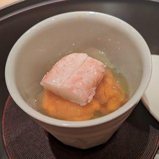 焼きナスのムース、毛ガニ・バフンウニ