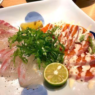 真鯛とサーモンのカルパッチョ